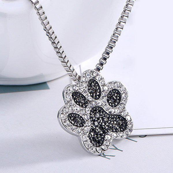 Cute Rhinestone Footprint Pendant NecklaceJEWELRY<br><br>Color: SILVER; Item Type: Pendant Necklace; Gender: For Women; Material: Rhinestone; Style: Trendy; Shape/Pattern: Floral; Length: 60CM; Weight: 0.0300kg; Package Contents: 1 x Necklace;