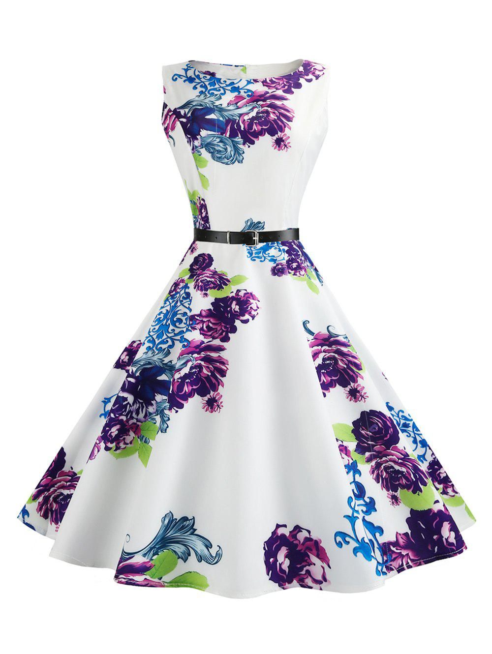 Store Retro Sleeveless Printed Fit and Flare Dress
