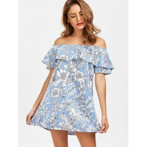 Off The Shoulder Floral Print Striped Dress - LIGHT BLUE S