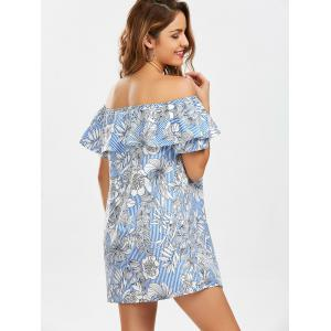 Off The Shoulder Floral Print Striped Dress - LIGHT BLUE M