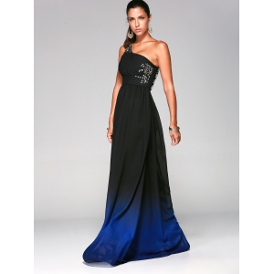 Rhinestone One Shoulder Ombre Evening Formal Carpet Dress - DEEP BLUE S