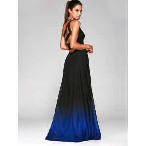 Rhinestone One Shoulder Ombre Formal Maxi Engagement Dress -