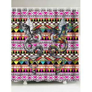 Ethnic Double Dragons Waterproof Shower Curtain - Colorful - W71 Inch * L79 Inch