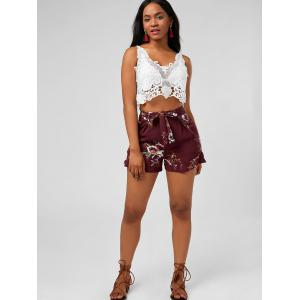 Floral Ruffle Trim High Waisted Shorts - DEEP RED M