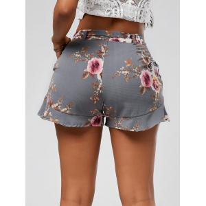 Floral Ruffle Trim High Waisted Shorts - SMOKY GRAY XL
