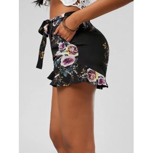 Floral Ruffle Trim High Waisted Shorts - BLACK S