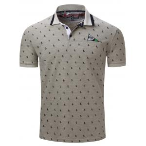 Turn-Down Collar Sailing Print Embroidered Polo T-Shirt - Gray - M