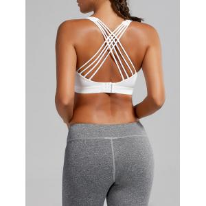Strappy Padded Criss Cross Sports Bra - White - L