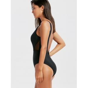 One Piece Open Back Mesh Panel Swimsuit - BLACK XL
