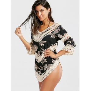 Summer Crochet Panel Floral Tunic Cover-Up -
