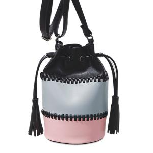 Drawstring Tassel Color Block Bucket Bag - Pink