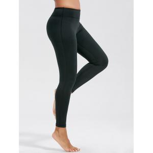 Simple High Waist Fitness Leggings with Pockets - Black - S