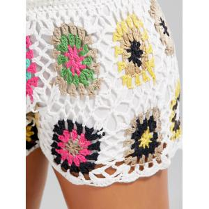Flower Crochet Cover Up Drawstring Beach Shorts -