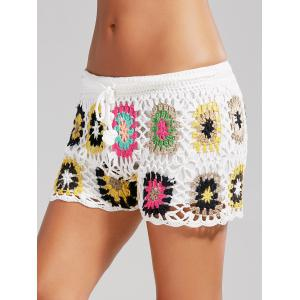 Flower Crochet Cover Up Drawstring Beach Shorts