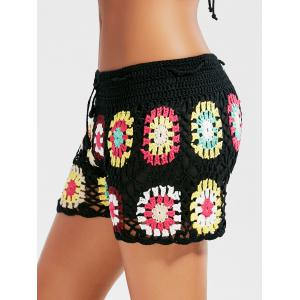 Flower Crochet Cover Up Drawstring Beach Shorts - BLACK ONE SIZE
