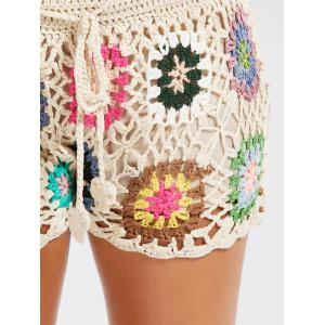 Flower Crochet Cover Up Shorts de plage de drawstring - Kaki TAILLE MOYENNE
