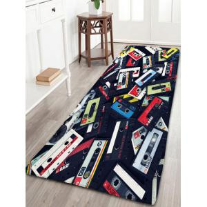 Magnetic Tape Print Flannel Skidproof Bath Rug