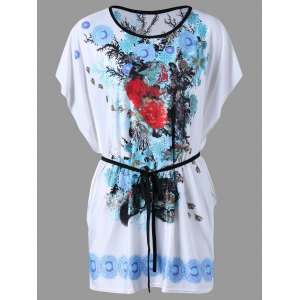 Floral Butterfly Sleeve Tee with Belt - Blue - One Size