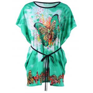 Butterfly Print Tie Dye Tee with Belt