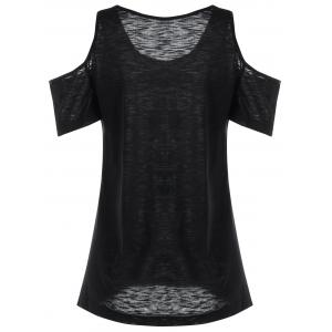 Feather Pattern Cold Shoulder Tee - BLACK 2XL
