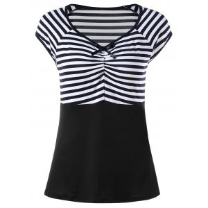 Empire Waist Cap Sleeve Striped T-shirt - White And Black - L