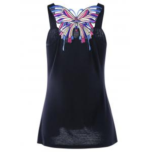 Sweetheart Neck Butterfly Appliqued Tank Top