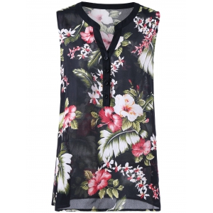 Floral Sleeveless Plus Size Henley Blouse