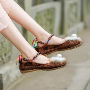 Faux Fur Beading Flat Shoes - Brown - 38