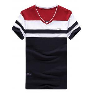 V Neck Two Tone Striped Tee - Red And White And Blue - 2xl