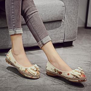 Bowknot Flower Print Flat Shoes - Floral - 40