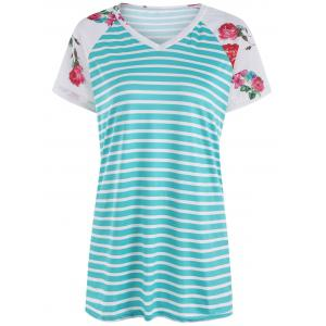 Raglan Sleeve Floral Tunic Striped T Shirt