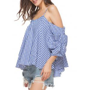 Plaid Cold Shoulder Top - CHECKED M
