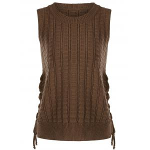 Knit Lace Up Sweater Vest - Brown - One Size