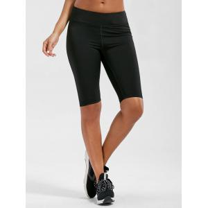 High Rise Knee Length Leggings with Pockets - BLACK L