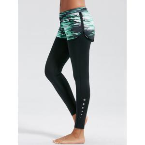 Ombre Print Fitness Leggings with Shorts Bottom - Black - L