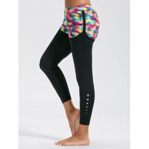Printed Fitness Leggings with Shorts Bottom