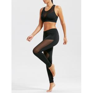 Sheer  Sports Bra and Mash Panel Workout Leggings Set - Black - Xl