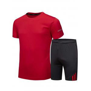 Crew Neck Tee and Shorts Sportswear - Red - L
