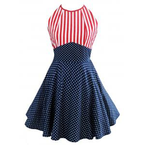 Vintage American Flag Print Halter Mini Dress