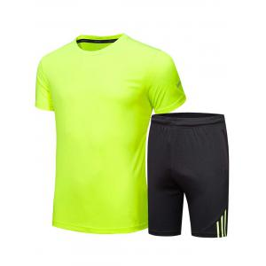Crew Neck Tee and Shorts Sportswear - Fluorescent Yellow - L