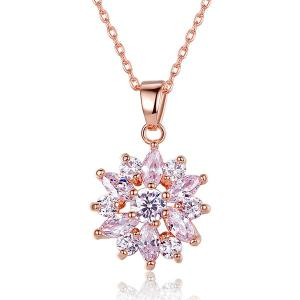 Zircon Link Chain Pendant Necklace