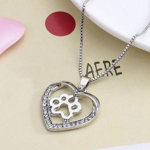 Dog Paw Heart Hollow Out Pendant Necklace -