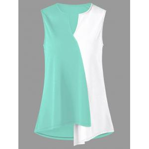 Split Neck Plus Size Two Tone T-shirt - Mint - 4xl