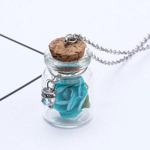 Glow in the dark Glass Dry Floral Necklace - Blue - Xl