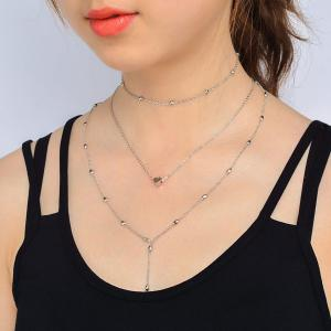 Heart Circle Pendant Collarbone Necklace Set