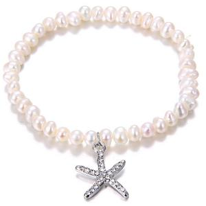 Rhinestone Inlaid Starfish Pendant Artificial Pearl Bracelet - Silver