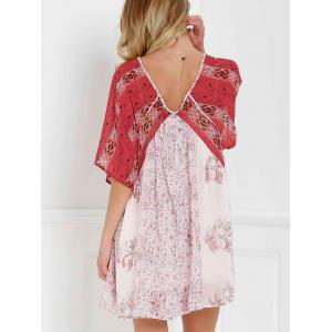 V Neck Short Sleeve Vintage Print Dress - RED WITH WHITE S