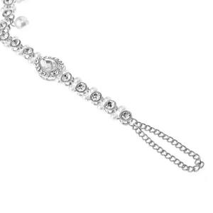 1PC Rhinestoned Teardrop Beach Slave Anklet - Argent