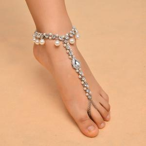 1PC Rhinestoned Teardrop Beach Slave Anklet - SILVER