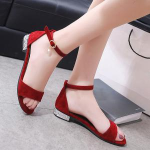 Flat Heel Ankle Strap Sandals - Red - 38
